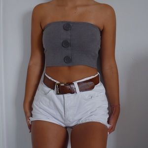 Urban Outfitters Gray Ribbed Button Tube Top